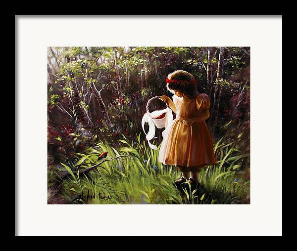Framed Print featuring the painting Girl With Basket Of Roses by Stephen Lucas