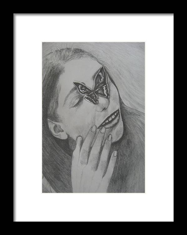 Girl Framed Print featuring the drawing Girl With Butterfly  by Theodora Dimitrijevic