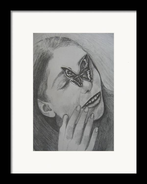 Girl Framed Print featuring the drawing Girl With Butterfly Close Up by Theodora Dimitrijevic