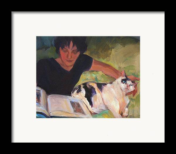 Woman Framed Print featuring the painting Girl With Cat by Merle Keller