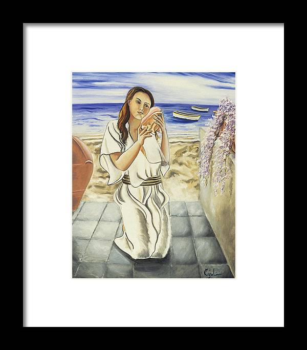 Seascape Framed Print featuring the painting Girl With Conch by Gloria Cigolini-DePietro