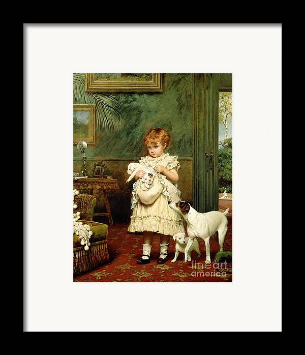 Girl With Dogs Framed Print featuring the painting Girl With Dogs by Charles Burton Barber