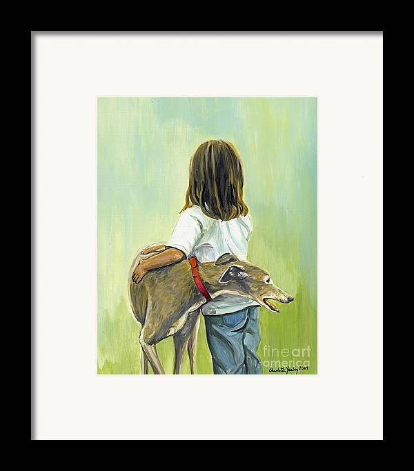 Greyhound Framed Print featuring the painting Girl With Greyhound by Charlotte Yealey