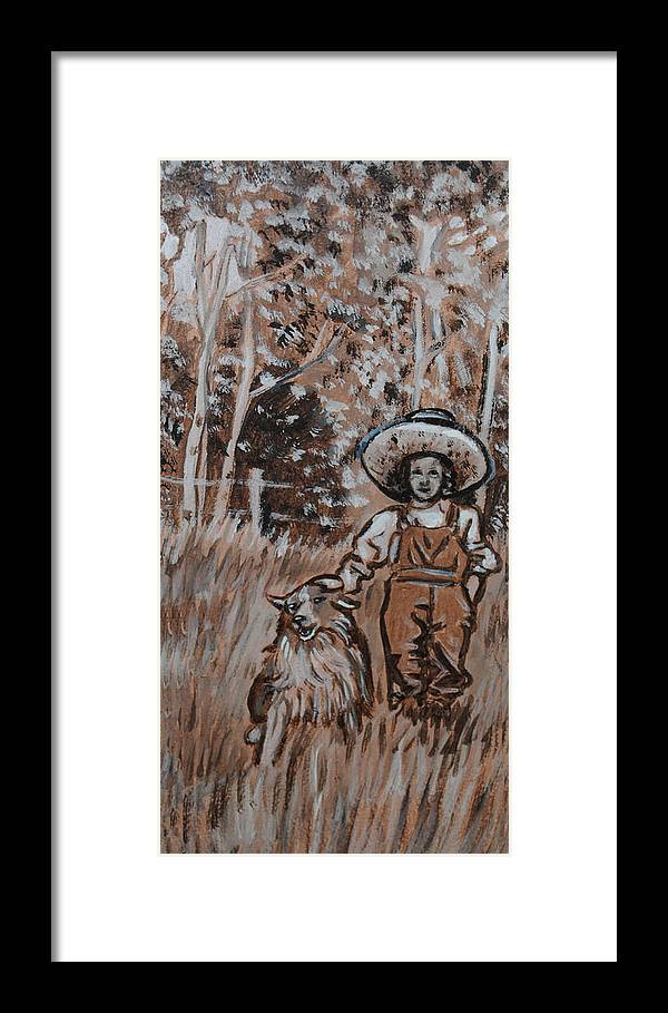 Historical Framed Print featuring the painting Girl With Hat And Dog Historical Vignette by Dawn Senior-Trask