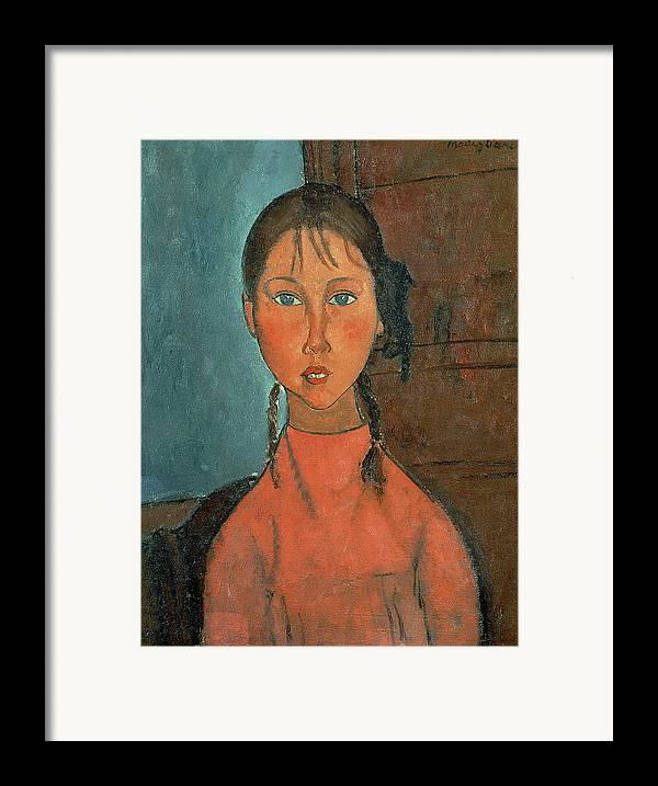Girl With Pigtails Framed Print featuring the painting Girl With Pigtails by Amedeo Modigliani
