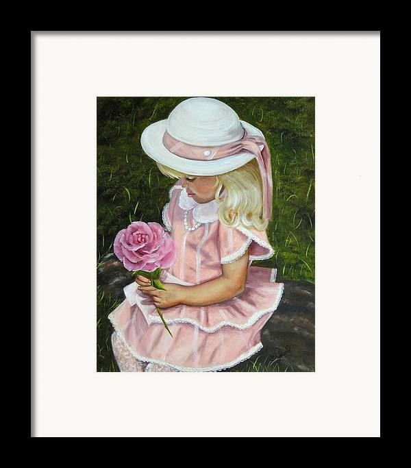 Girl Framed Print featuring the painting Girl With Rose by Joni McPherson