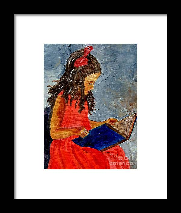 Girl Framed Print featuring the painting Girl With The Book by Inna Montano