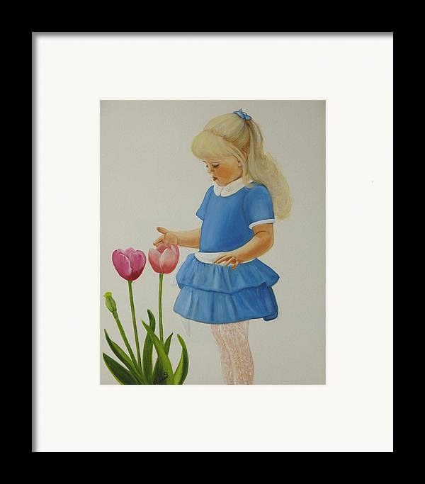 Portrait Framed Print featuring the painting Girl With Tulips by Joni McPherson