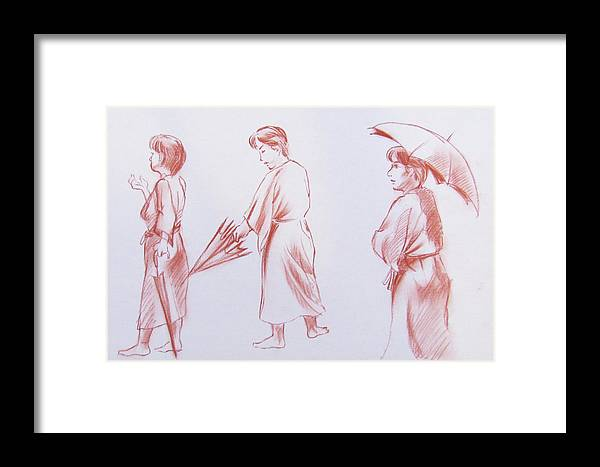 Female Framed Print featuring the drawing Girl With Umbrella 3 by Markus Neal Humby