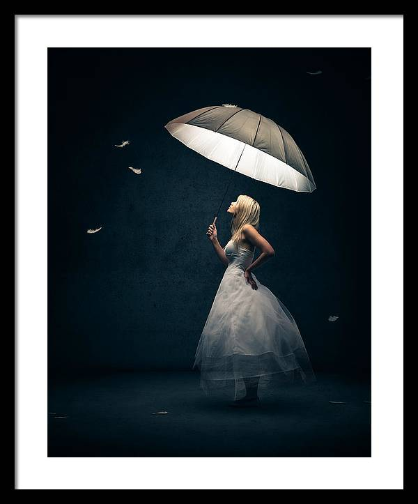 Girl with umbrella and falling feathers by Johan Swanepoel