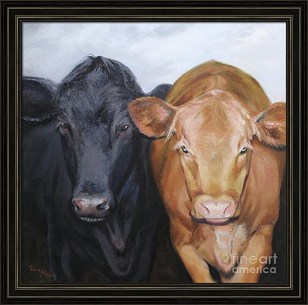 Portrait Painting Of Two Cows Framed Print featuring the painting Girlfriends by Terri Meyer