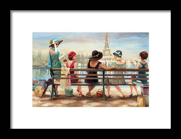 Paris Framed Print featuring the painting Girls Day Out by Steve Henderson