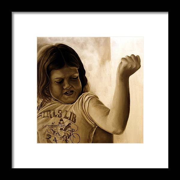 Photorealism Framed Print featuring the painting Girl's Lib by Anni Adkins
