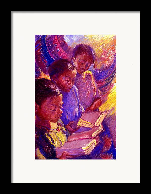 Girls Framed Print featuring the painting Girls Reading by Ellen Dreibelbis