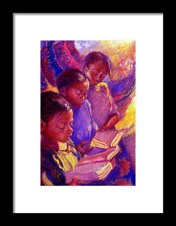 Girls Framed Print featuring the painting Girls Reading by Ellen Dreibelbis