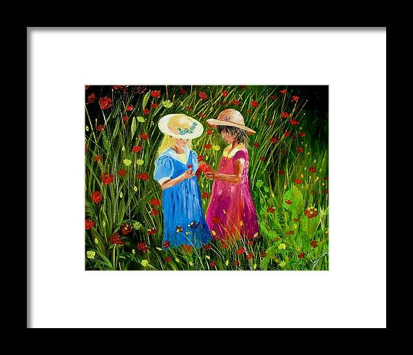 Girls Framed Print featuring the painting Girls With Flowers by Inna Montano