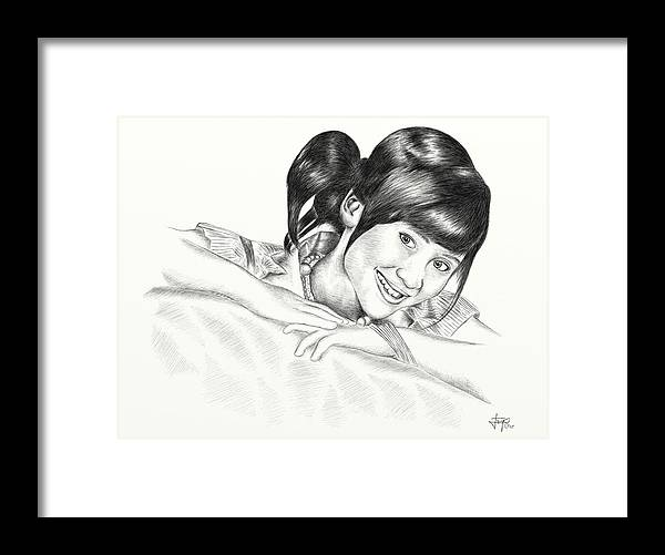 Drawing Framed Print featuring the digital art Gita Gutawa Young Singer From Indonesia by Yudiono Putranto
