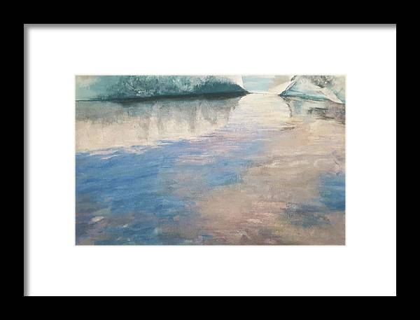 Artwork Framed Print featuring the drawing Glacial Lagoon by Susan Singer