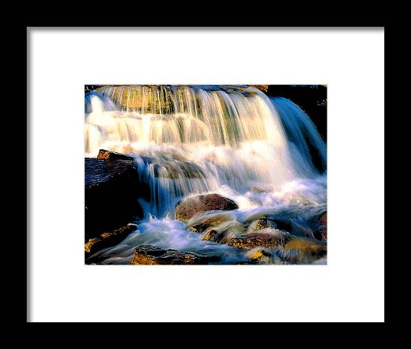 Glacier Framed Print featuring the photograph Glacier National Park Waterfall by Vicky Brago-Mitchell