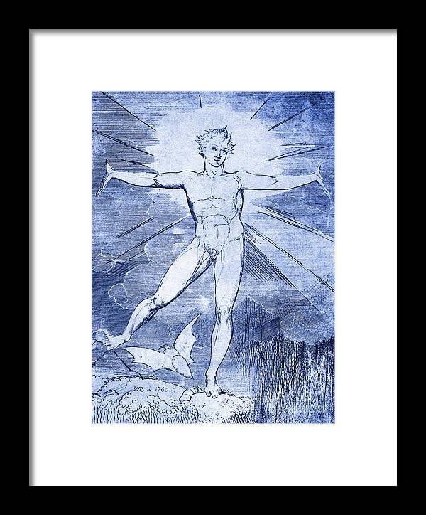 William Blake Framed Print featuring the drawing Glad Day By William Blake by William Blake