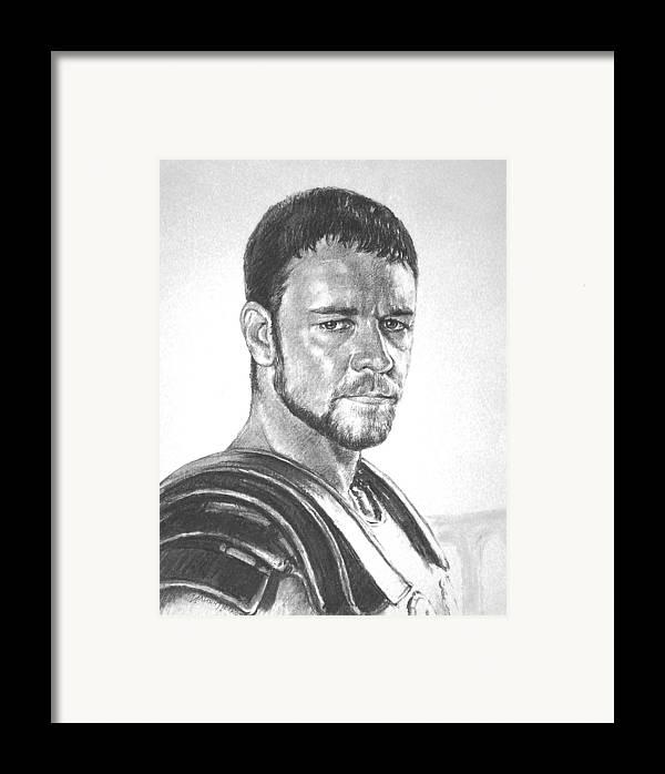 Portraits Framed Print featuring the drawing Gladiator by Iliyan Bozhanov