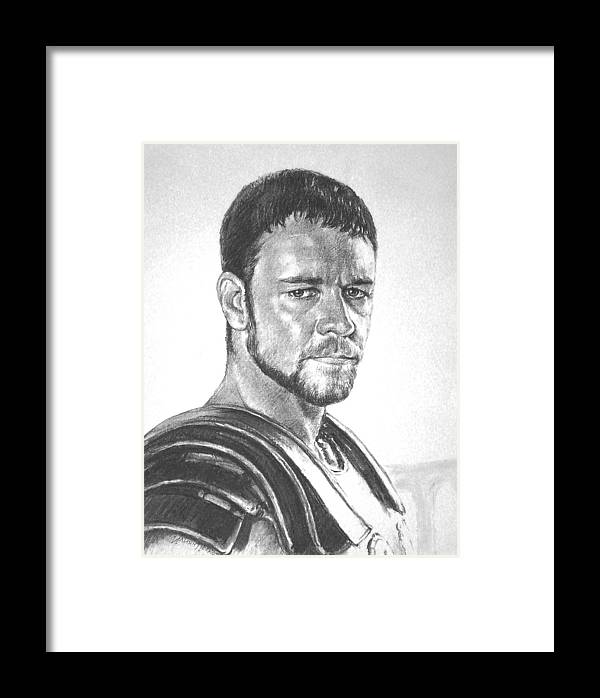 Portraits Framed Print featuring the drawing Gladiator by Iliyan Bozhanov