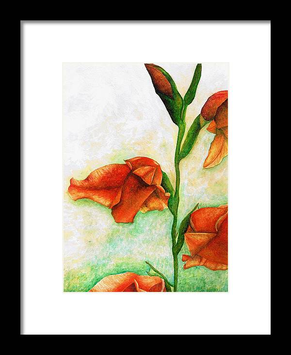 Flower Framed Print featuring the painting Gladiolas by Brandon Sharp