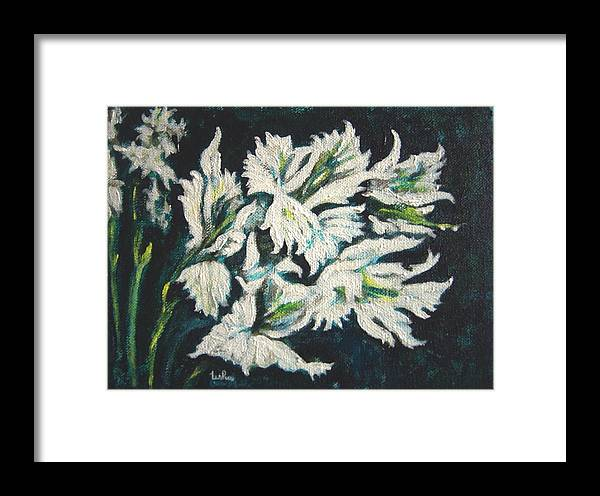Gladioli Framed Print featuring the painting Gladioli by Usha Shantharam