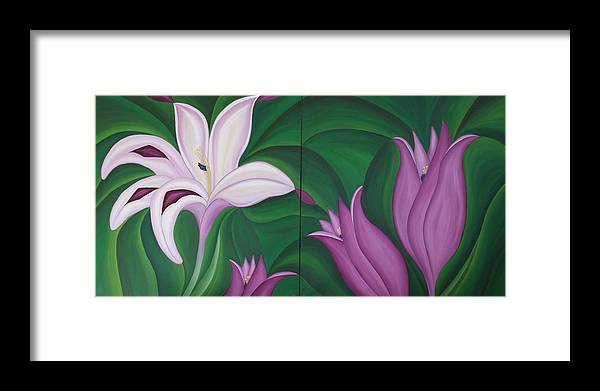 Marinella Owens Framed Print featuring the painting Gladiolus Carneus by Marinella Owens