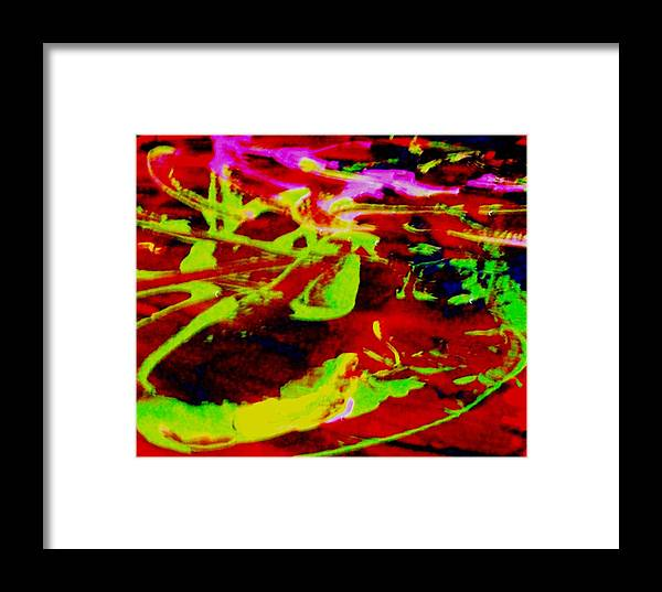 Curved Shapes Framed Print featuring the painting Gladly Beyond Any Experience by Bruce Combs - REACH BEYOND
