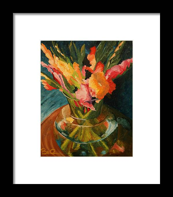 Semi-impressionist Framed Print featuring the painting Glads In Glass by Barbara Auito