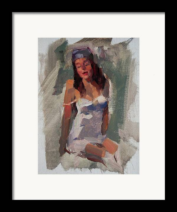 Figurative Framed Print featuring the painting Glam Girl by Merle Keller