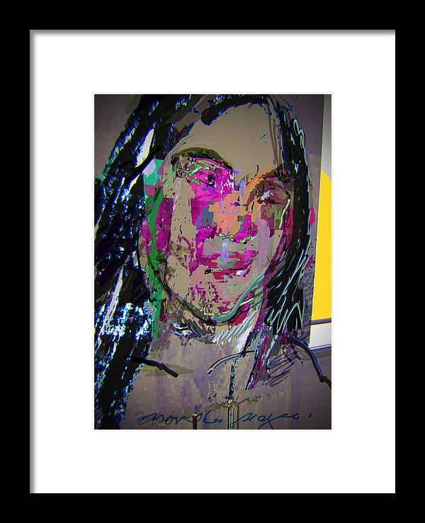 Portrait Framed Print featuring the drawing Glance by Noredin Morgan