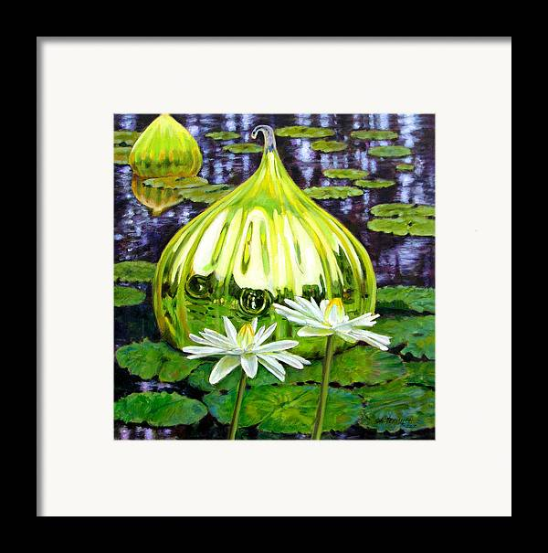 Water Lilies Framed Print featuring the painting Glass Among The Lilies by John Lautermilch