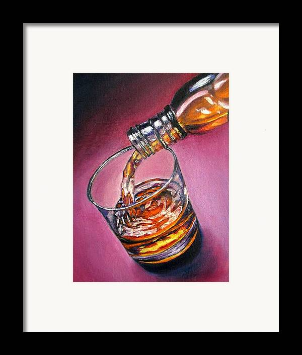 Glass Of Wine Framed Print featuring the painting Glass Of Wine Original Oil Painting by Natalja Picugina