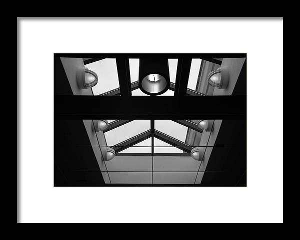 Black And White Framed Print featuring the photograph Glass Sky Lights by Rob Hans