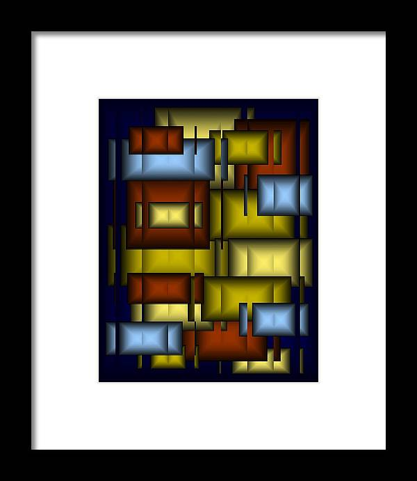 Glass Framed Print featuring the digital art Glass Tile Abstract by Terry Mulligan