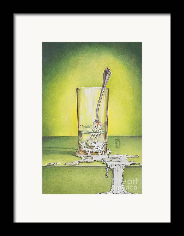 Bizarre Framed Print featuring the painting Glass With Melting Fork by Melissa A Benson