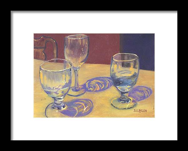 Glasses Framed Print featuring the painting Glasslights by Sharon E Allen
