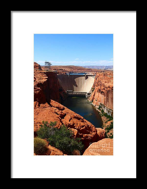 Dam Framed Print featuring the photograph Glen Canyon Dam - Arizona by Christiane Schulze Art And Photography