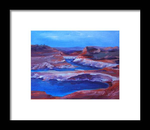 Seascape Framed Print featuring the painting Glen Canyon Dam Arizona by Donna Pierce-Clark