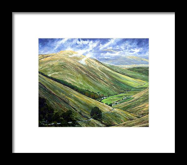 Landscapes Framed Print featuring the painting Glen Gesh Ireland by Jim Gola