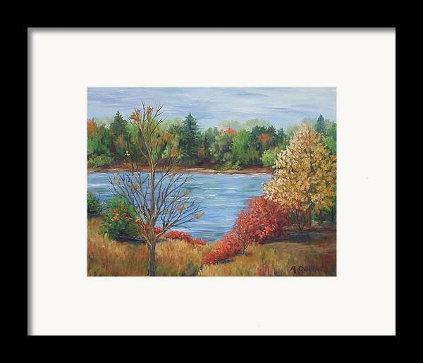 Landscape Framed Print featuring the painting Glenmore Park by Maxine Ouellet