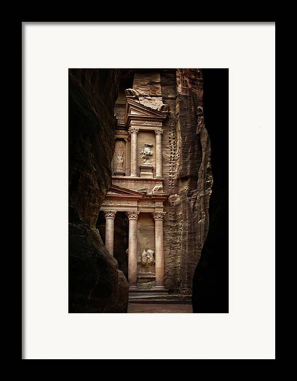 Vertical Framed Print featuring the photograph Glimpse Of Treasury by David Lazar