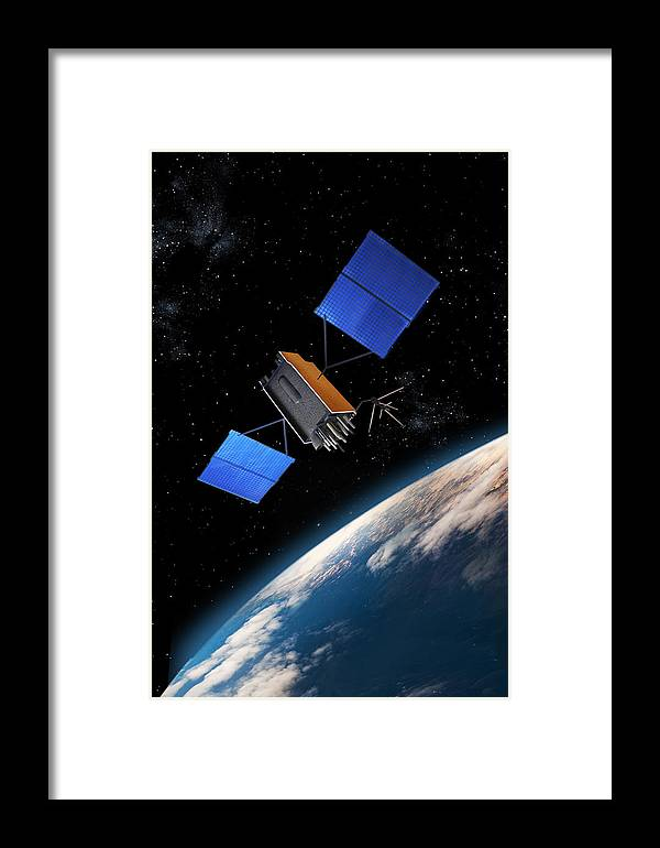 Global Positioning System Framed Print featuring the mixed media Global Positioning System Satellite In Orbit by Erik Simonsen