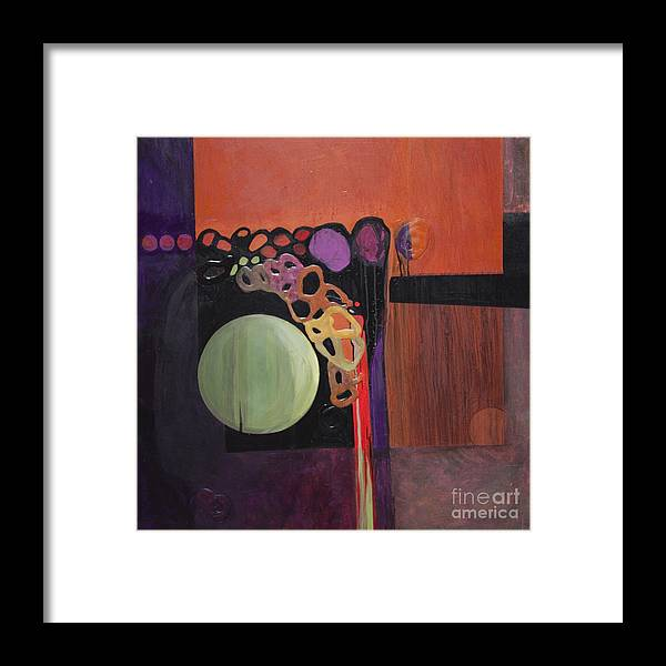 Abstract Framed Print featuring the painting Globular by Marlene Burns