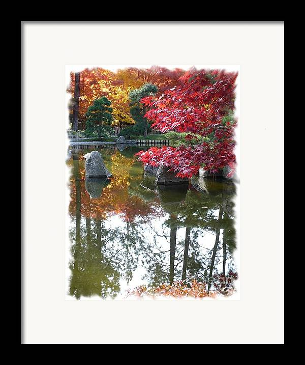 Autumn Framed Print featuring the photograph Glorious Fall Colors Reflection With Border by Carol Groenen