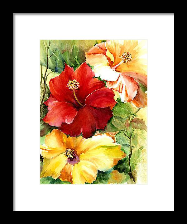 Flower Framed Print featuring the painting Glorious Hibiscus by Priscilla Powers