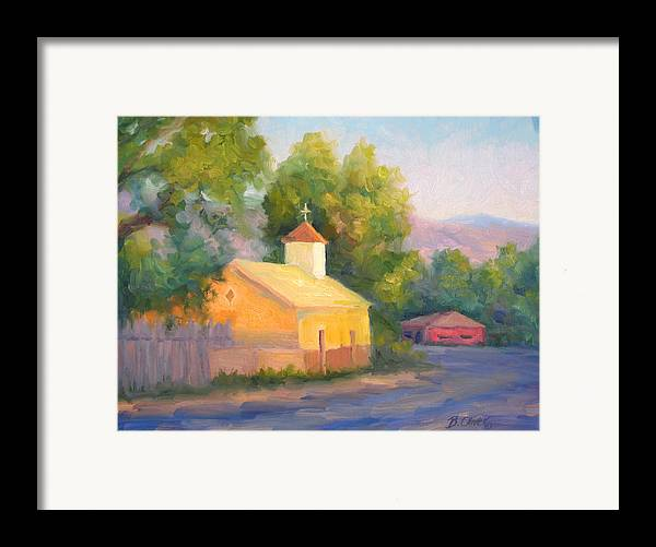 Landscape Framed Print featuring the painting Glow At Vespers by Bunny Oliver