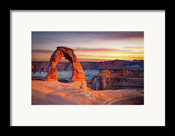 Horizontal Framed Print featuring the photograph Glowing Arch by Mark Brodkin Photography